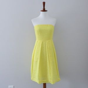J. Crew Strapless Lemon Yellow Lorelei Dress